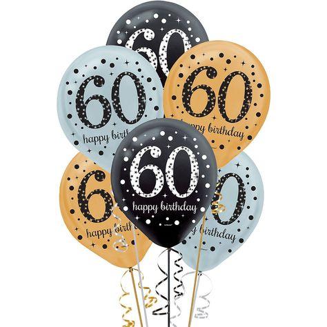 60th Birthday Balloons 15ct
