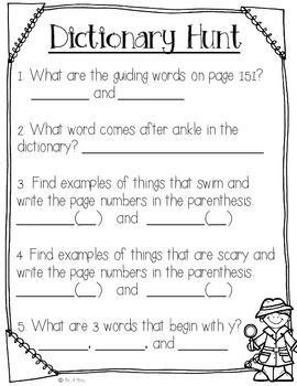 Freebie Dictionary Detectives With Images Dictionary Skills