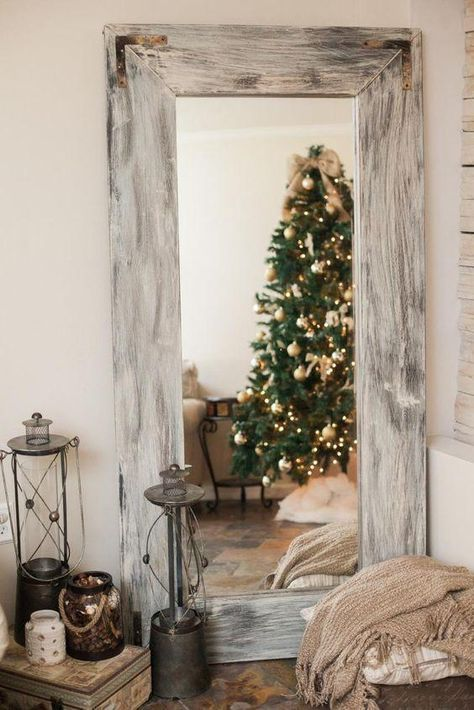 Distressed Rustic Handmade Full Length Reclaimed Wood Floor Mirror