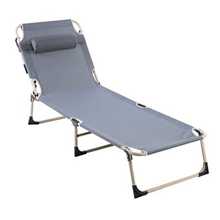 Folding Lounge Chair Portable Adjustable Recliner Reclining Chaise Lounge Chair For Beach Camping Outdoor Picnic Office Home Patio Deck Yard Pool With Pillow G Folding Lounge Chair Chaise Lounge Chair Lounge