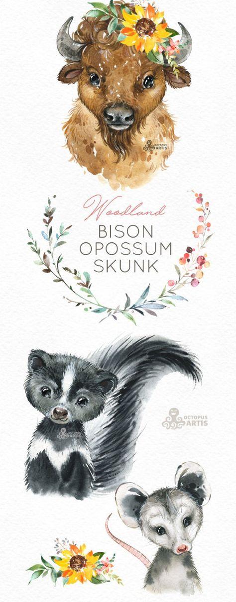 Bison Opossum Skunk. Watercolor animals clipart, woodland, forest, wreath, flowers, kids, cute, nurs