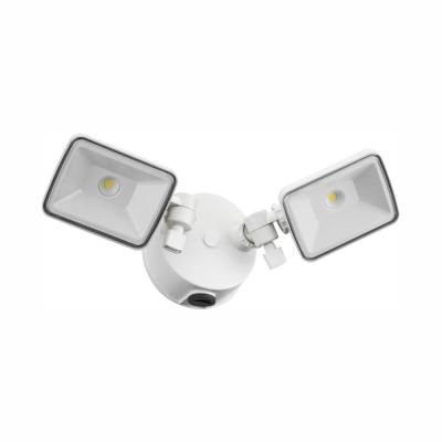 Lithonia Lighting White Outdoor Integrated Led Square Wall Mount Flood Light With Dusk To Dawn Photocell In 2020 Lithonia Lighting Led Flood Lights Dusk To Dawn