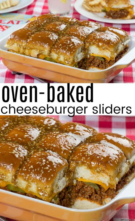 Beef up an everyday family dinner or a special get-together with these Oven-Baked Cheeseburger Sliders. (The sauce is the best part!) (Best Salad With Pizza) Cheeseburger Sliders, Beef Sliders, Mini Hamburger Sliders, Mini Sliders, Cheeseburger Pasta, Chicken Sliders, Cheese Burger, Baked Chili Cheese Dogs, Baked Cheese