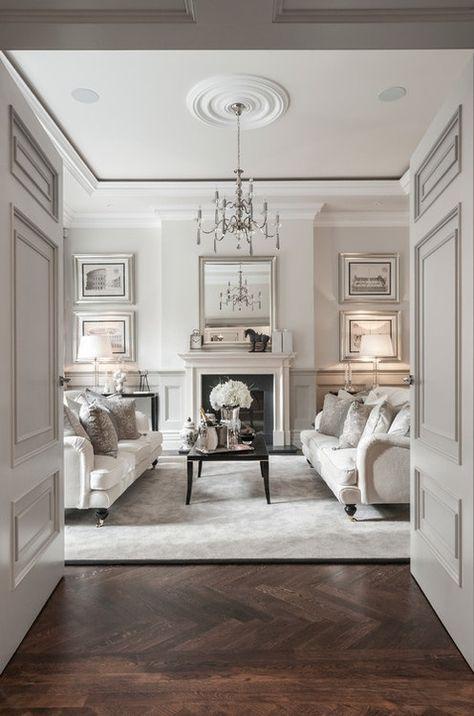 Love this! Clean white, elegant look with antique parquet flooring - Classic!