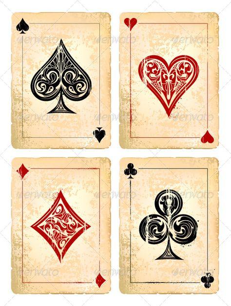 Grunge Poker Cards Vector Set - Vectors