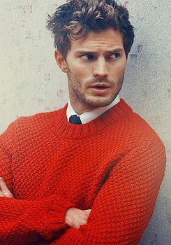 Jamie Dornan Wearring a Red Sweater