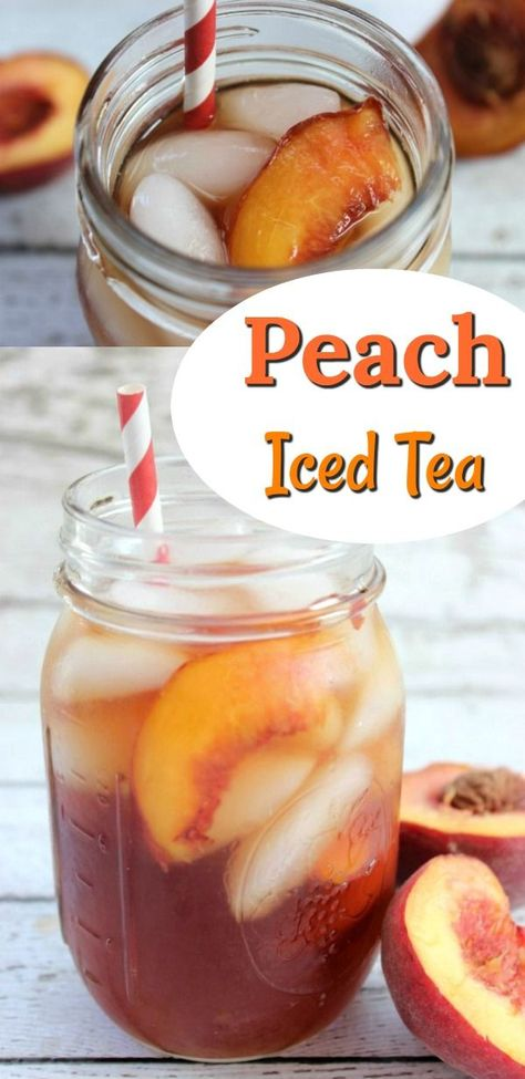 Peach Iced Tea is about as refreshing as you can get. There is something extra refreshing about Peach Iced Tea, and it is one of my favorite drinks to get at Sweet Tea Recipes, Iced Tea Recipes, Fruit Recipes, Recipies, Nutella Recipes, Fruit Tea, Fruit Drinks, Beverages, Summertime Drinks