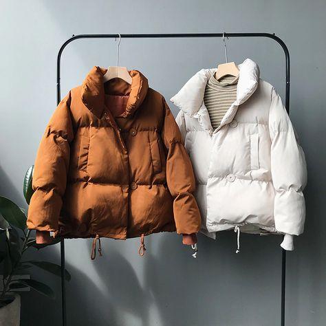 Women Parkas New Casual Turtleneck Loose Down Jacket Female Warm Cotton Winter Coats Women, Coats For Women, Jackets For Women, Winter Jackets, Clothes For Women, Look Fashion, Winter Fashion, Fashion Outfits, Sporty Fashion