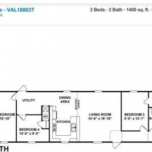 Clayton Homes Value Series The Super Value 18x80 3T Floor Plan