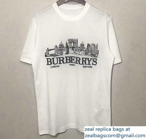 3d9948a00813 Burberry London Paris New York City Print T-shirt White 2018 ...