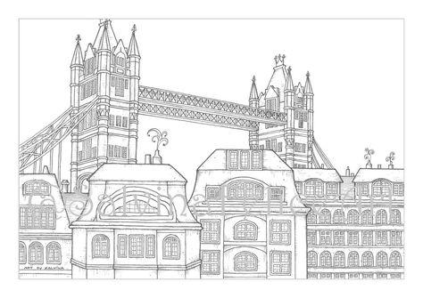 Immagini Di Londra Da Colorare.London City Coloring Page Download Stampa Digitale Del Mio