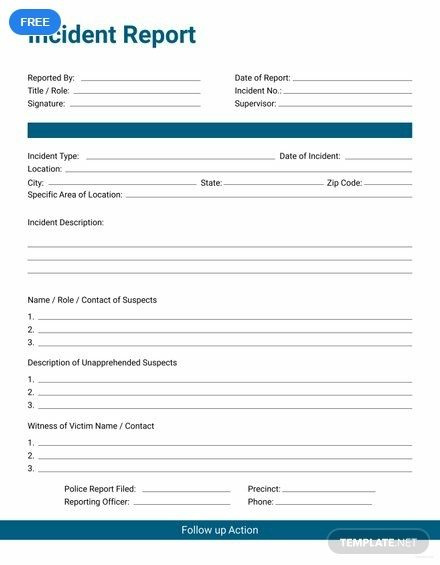 Employee Accident Report Incident Report Report Template