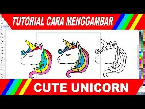Tutorial Cara Menggambar Cute Unicorn Png Vector Youtube