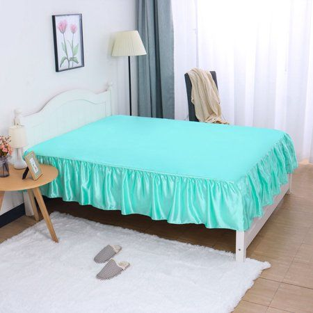 Piccocasa 14 Inch Satin Silk Bed Skirt For Queen Size Bed Cyan In