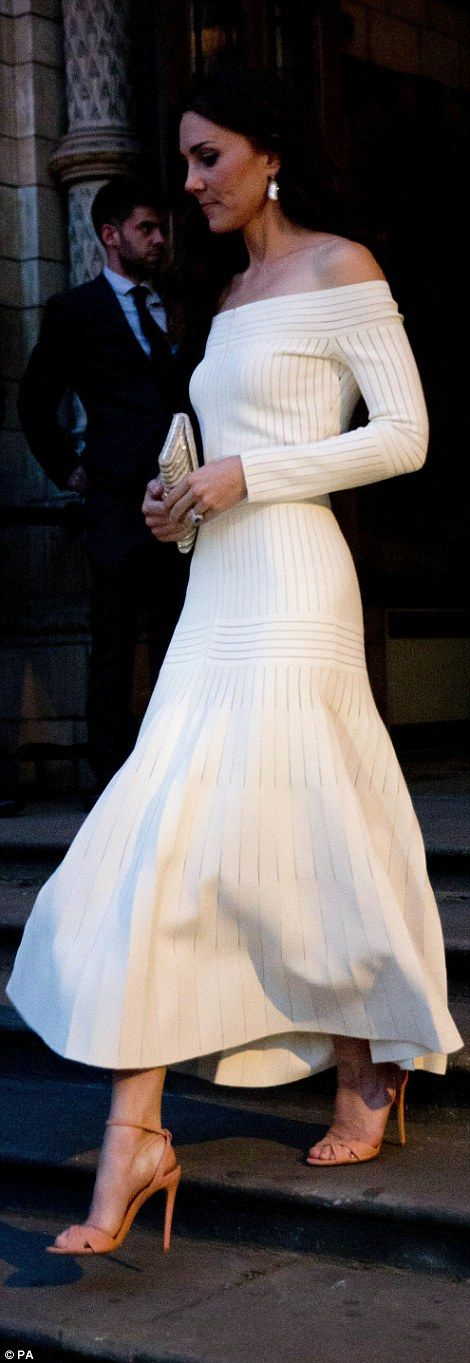 Kate Middleton wears a daring off-the-shoulder gown at Natural History Museum | Daily Mail Online