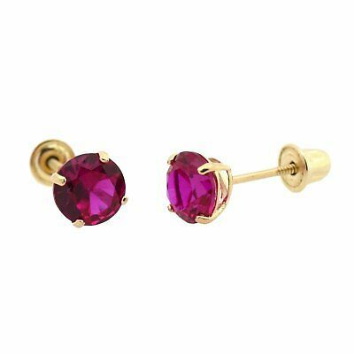 14kt White Gold 5mm Round Ruby Stud Earrings A
