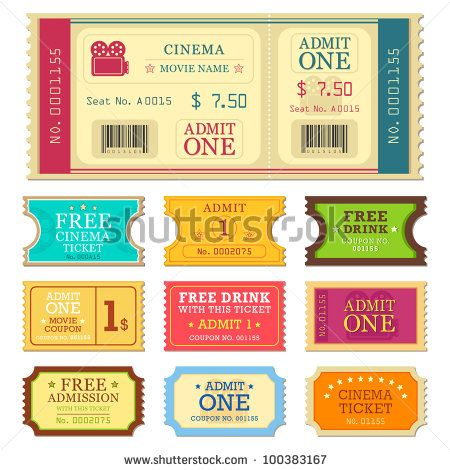 vector illustration of set of different movie ticket Decorating - concert ticket layout