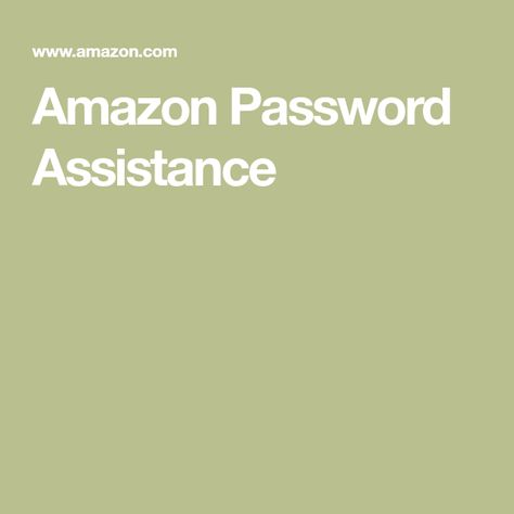 Amazon Password Assistance