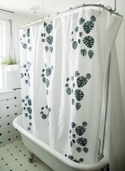 Shower Curtain Monstera Print Shower Curtain Lengths Curtains