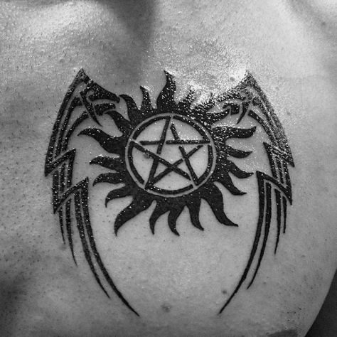 Anti Possession Tattoo Designs For Men - Supernatural Ideas Anti Possession Symbol With Wings Mens Chest TattooAnti Possession Symbol With Wings Mens Chest Tattoo