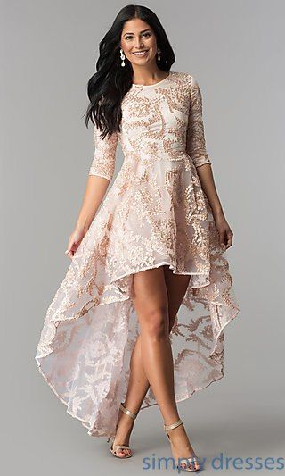 3 4 Sleeve High Low Party Dress In Blush Pink In 2019