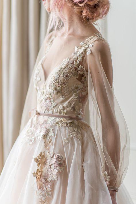 Floral Wedding Gown, Fairy Wedding Dress, Cute Wedding Dress, Elegant Wedding Gowns, Fairytale Dress, Dream Wedding Dresses, Bridal Gown, Organza Wedding Dresses, Medieval Wedding Dresses