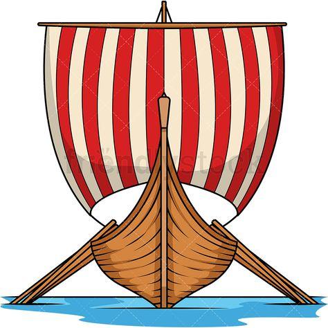 Viking Longboat Front View Cartoon Vector Clipart Friendlystock Viking Longboat Boat Cartoon Vikings