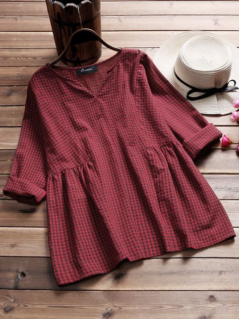 Vintage Plaid V-Neck Stitching Baggy Shirts