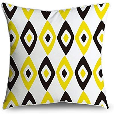 Amazon Com Fabricmcc Throw Pillow Cover 18x18 Diamond Yellow White And Black Square Accent D Cushion Pillow Covers Pillows