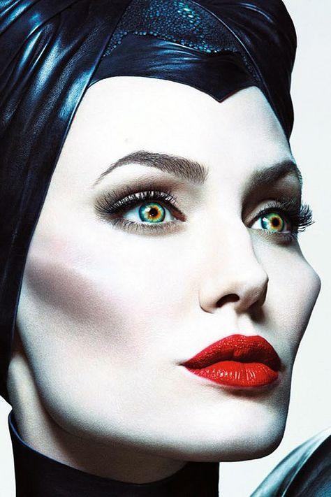 Angelina Jolie - Maleficent - sculpted cheekbones + soft smokey eye + bright red lips
