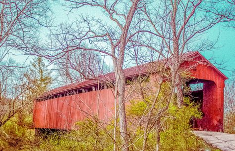 Covered Bridge Batavia Ohio completely crashed from the weight of the snow Winter 2013-2014