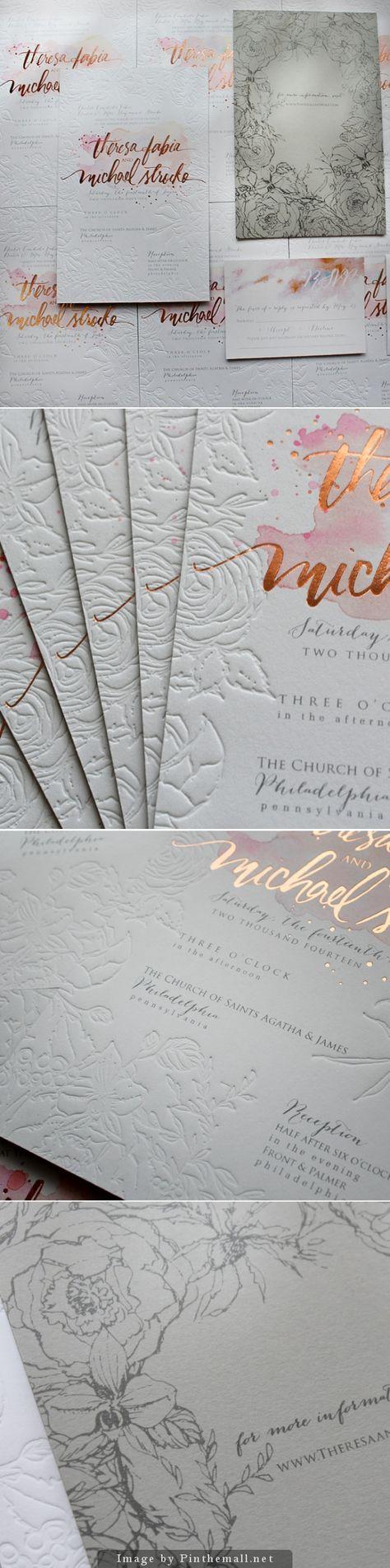 Rose Gold Foil and Blind Letterpress Floral Wedding Invitations.