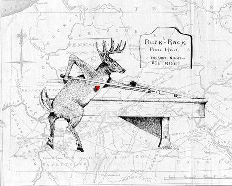 Buck Deer Shooting Pool 1789 Map Of Pennsylvania Original Art