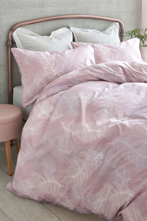 Next Feathers Printed Duvet Cover And Pillowcase Set Pink Pink