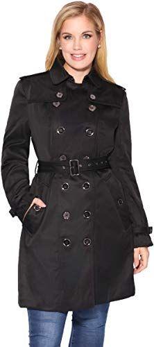 New Krisp Womens Classic Short Rain Mac Belted Trench Coat