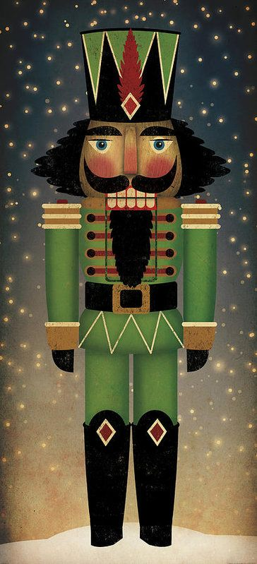 Nutcracker Stretched Canvas Wall Art Ready-To-Hang Signed Fowler Christmas Decor
