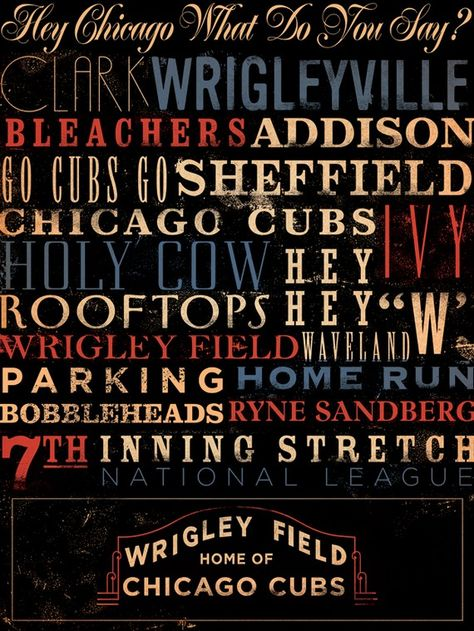 Wrigley Field Typography Canvas Art graphic art on gallery wrapped