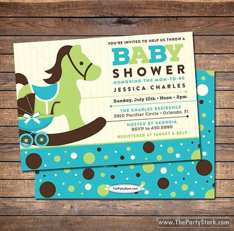 Rocking Horse Baby Shower Invitation blue brown by thepartystork, $15.00