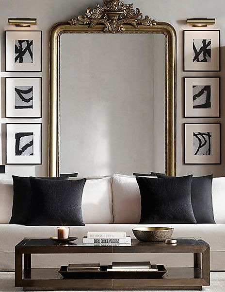 Living Room With Large Wall Mirror Gold Living Room Living Decor House Interior
