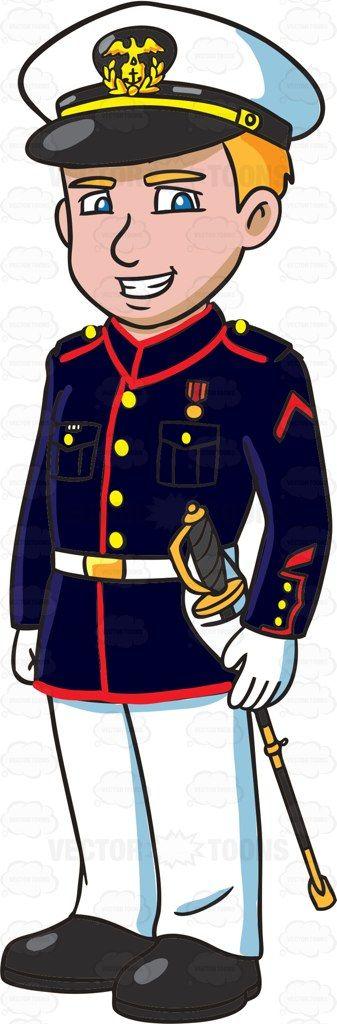 Marine dress blues white gloves.