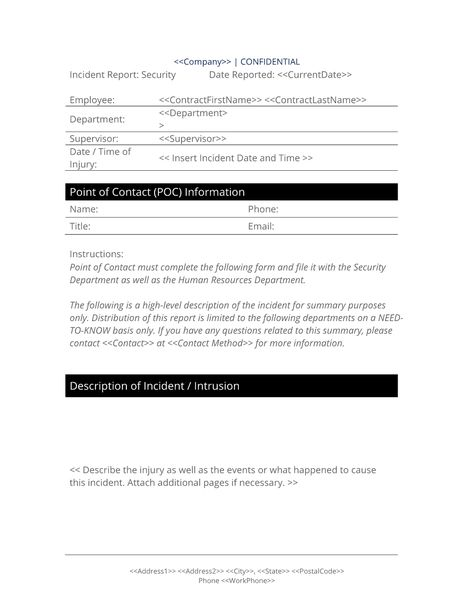 Security Breach Report Form - Use the Security Breach Report Form to