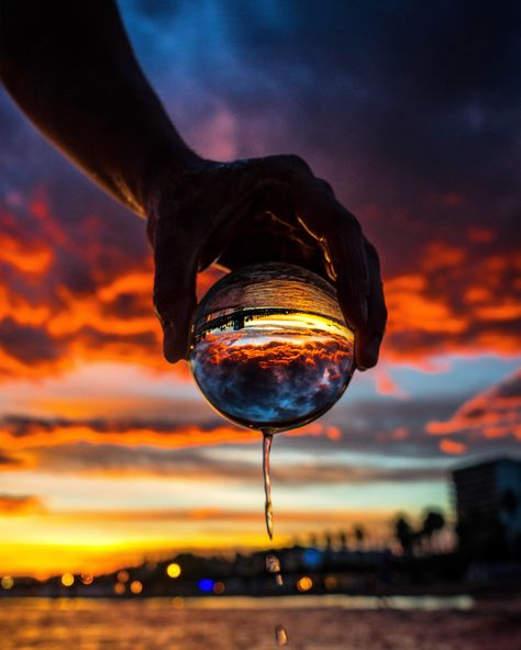 Incredible sunset and sky captured through the Lensball in Spain, close to Barcelona!