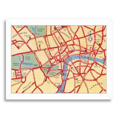 East Urban Home u0027Map of London Streetsu0027 Graphic Art Print Format - white paper format