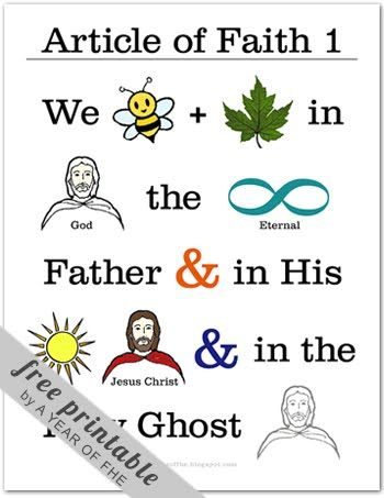 A Year of FHE: Article of Faith No. 1 these are awesome for teaching the kids the articles of faith - free printables! Have Printwatkins.com print it for you at a fraction of home ink cost!