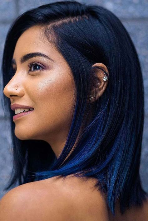 dark blue hair The Magical Power of Blue Black Hair and What You Should Know About It Hair Dye Colors, Hair Color For Black Hair, Cool Hair Color, Short Black Hair, Dark Purple Hair, Indigo Hair Color, Short Colorful Hair, Black Blue Ombre Hair, Brown Hair