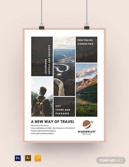 Printable Travel Agency Poster Template Free Pdf Psd Apple Mac Pages Illustrator Travel Poster Design Business Poster Poster Template