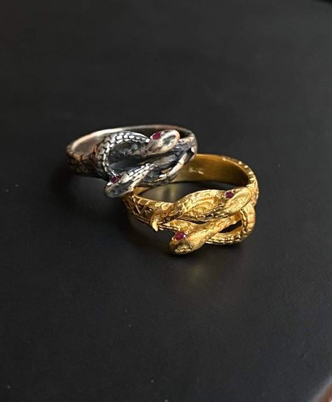 Snake Ring with Ruby Gemstone Eyes, 18K Gold Plated or Sterling Silver