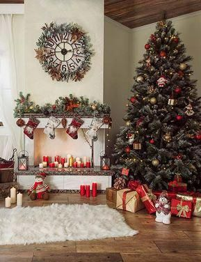 Christmas Holiday Backdrop With Chair Fireplace Wool Carpet Holidayhomedecor Outdoor Christmas Decorations Blue Christmas Decor Christmas Backdrops
