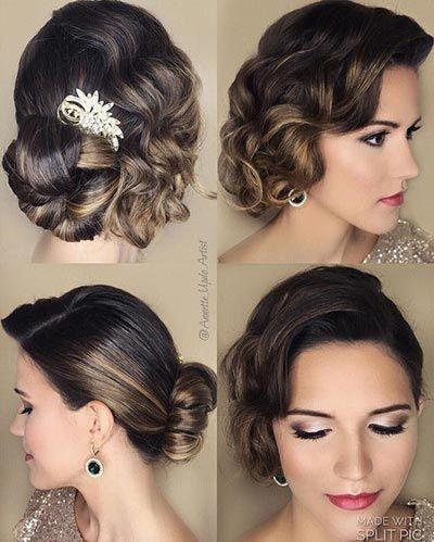 Great Gatsby Wedding Ideas 1920 S Bridal Hairstyles With Curls Vintage Wedding Hair Wedding Hair Down Wedding Hair Half