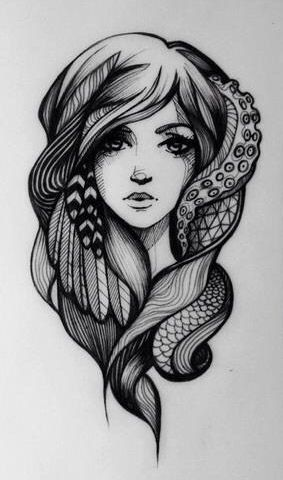 an idea of this but instead of the feathers too just make the hair the tentacles and fish scales to rep ariel
